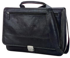 VIP Leather Messenger Briefcase Debossed Personalized Logo