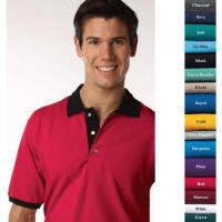 2-Tone Cotton Polyester Blend Polo with Your Custom Embroidered Logo