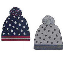 Patriotic Winter Hat Knit Beanie with Your Custom Logo Design