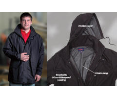 Rain Jacket with Hidden Hood with Your Custom Embroidered Logo