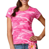 Women Fitted Camo T-Shirt with Your Custom Logo Imprint