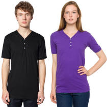 Unisex Button V-Neck Tee with Your Custom Logo Imprint