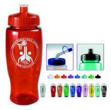 28oz Plastic Squeeze Water Bottle Push-Pull Lid or Straw Lid