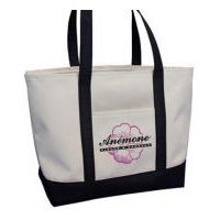 Large Canvas Pocket Shopping Tote Multi-Color Personalized Logo